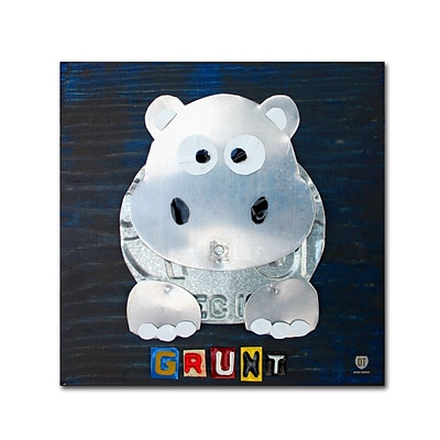 Trademark Fine Art Grunt The Hippo by Design Turnpike 35 x 35 Canvas Art (ALI1279-C3535GG)