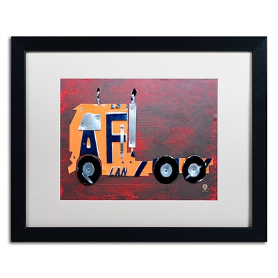 Trademark Fine Art Semi Truck by Design Turnpike 16 x 20 White Matted Black Frame (ALI1289-B1620MF)