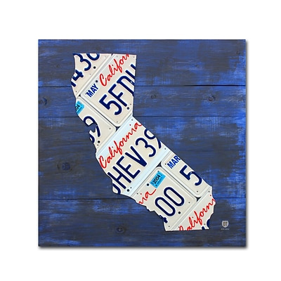 Trademark Fine Art California License Plate Map by Design Turnpike 35 x 35 Canvas Art (ALI1290-C3535GG)