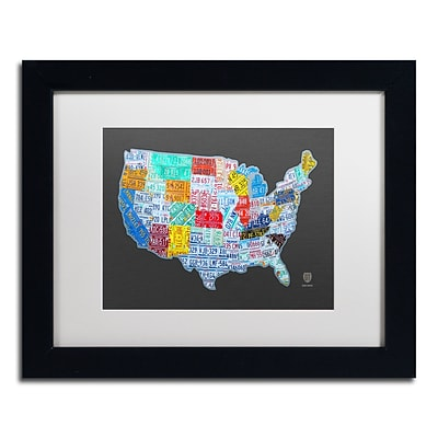 Trademark Fine Art Massive USA License Plate Map by Design Turnpike 11 x 14 White Matted Black Frame (ALI1306-B1114MF)