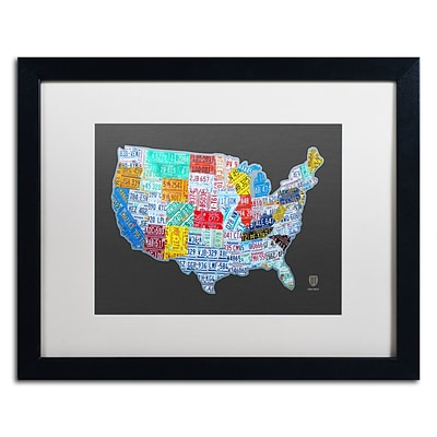 Trademark Fine Art Massive USA License Plate Map by Design Turnpike 16 x 20 White Matted Black Frame (ALI1306-B1620MF)