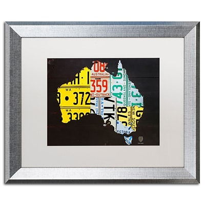 Trademark Fine Art Australia License Plate Map by Design Turnpike 16 x 20 White Matted Silver Frame (ALI1311-S1620MF)