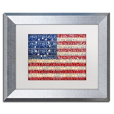 Trademark Fine Art Betsy Ross Flag by Design Turnpike 11 x 14 White Matted Silver Frame (ALI1313-S1114MF)