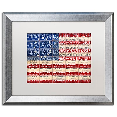 Trademark Fine Art Betsy Ross Flag by Design Turnpike 16 x 20 White Matted Silver Frame (ALI1313-S1620MF)