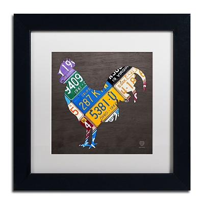 Trademark Fine Art Rooster by Design Turnpike 11 x 11 White Matted Black Frame (ALI1318-B1111MF)