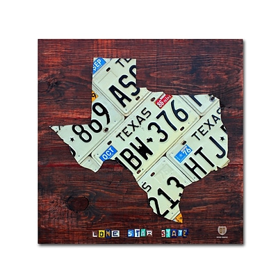 Trademark Fine Art Texas License Plate Map Large by Design Turnpike 14 x 14 Canvas Art (ALI1323-C1414GG)