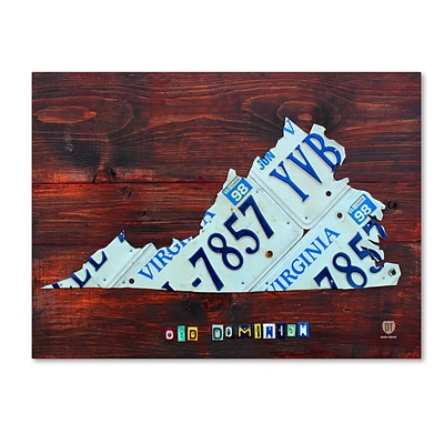Trademark Fine Art Virginia License Plate Map Large by Design Turnpike 35 x 47 Canvas Art (ALI1324-C3547GG)