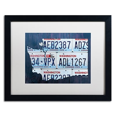 Trademark Fine Art Washington License Plate Map by Design Turnpike 16 x 20 White Matted Black Frame (ALI1325-B1620MF)