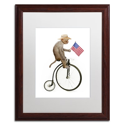 Trademark Fine Art Monkeys Riding Bikes #3 by J Hovenstine Studios 16 x 20 White Matted Wood Frame (ALI1350-W1620MF)