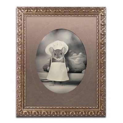 Trademark Fine Art Mice Series #6 by J Hovenstine Studios 11 x 14 Ornate Frame (ALI1356-G1114F)
