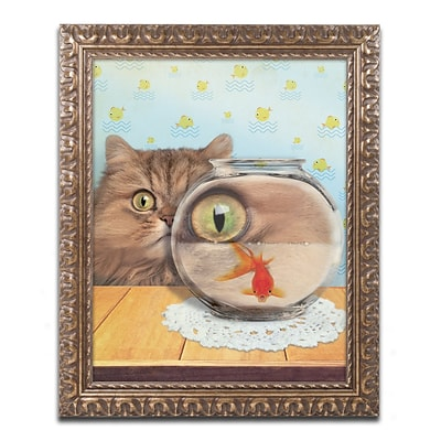 Trademark Fine Art Cat Series #3 by J Hovenstine Studios 11 x 14 Ornate Frame (ALI1358-G1114F)