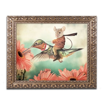 Trademark Fine Art Catching A Ride Hummingbird by J Hovenstine Studios 16 x 20 Ornate Frame (ALI1361-G1620F)