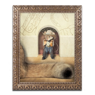 Trademark Fine Art New Mouse In Town by J Hovenstine Studios 11 x 14 Ornate Frame (ALI1364-G1114F)