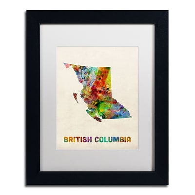 Trademark Fine Art British Columbia Watercolor Map by Michael Tompsett 11 x 14 White Matted Black Frame (MT0503-B1114MF)