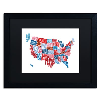 Trademark Fine Art United States Typography Text Map by Michael Tompsett 16 x 20 Black Frame (MT0504-B1620BMF)