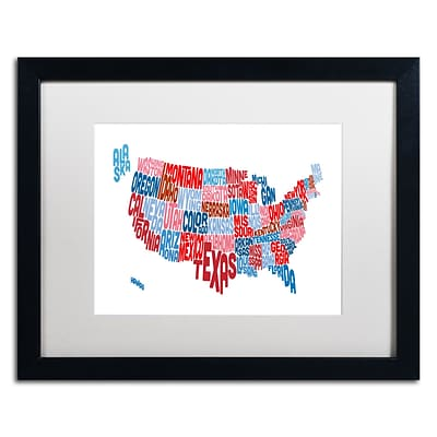 Trademark Fine Art United States Typography Text Map by Michael Tompsett 16 x 20 White Matted Black Frame (MT0504-B1620MF)