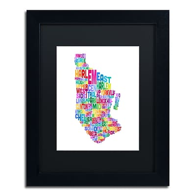 Trademark Fine Art Manhattan New York Typography Map by Michael Tompsett 11 x 14 Black Frame (MT0505-B1114BMF)