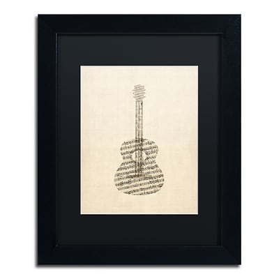 Trademark Fine Art Acoustic Guitar Old Sheet Music by Michael Tompsett 11 x 14 Black Matted Black Frame (MT0506-B1114BMF)