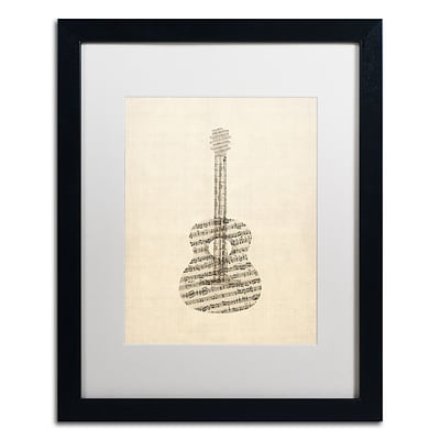Trademark Fine Art Acoustic Guitar Old Sheet Music by Michael Tompsett 16 x 20 Black Frame (MT0506-B1620MF)