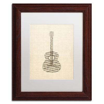 Trademark Fine Art Acoustic Guitar Old Sheet Music by Michael Tompsett 11 x 14 White Matted Wood Frame (MT0506-W1114MF)