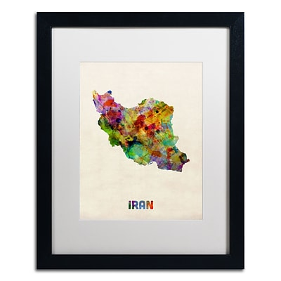 Trademark Fine Art Iran Watercolor Map by Michael Tompsett 16 x 20 White Matted Black Frame (MT0507-B1620MF)