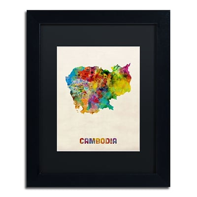 Trademark Fine Art Cambodia Watercolor Map by Michael Tompsett 11 x 14 Black Matted Black Frame (MT0509-B1114BMF)