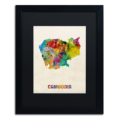 Trademark Fine Art Cambodia Watercolor Map by Michael Tompsett 16 x 20 Black Matted Black Frame (MT0509-B1620BMF)