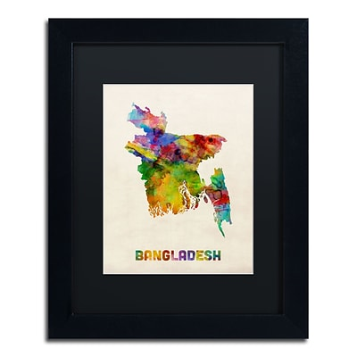 Trademark Fine Art Bangladesh Watercolor Map by Michael Tompsett 11 x 14 Black Matted Black Frame (MT0511-B1114BMF)