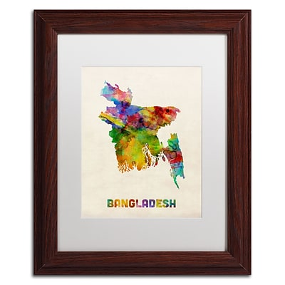 Trademark Fine Art Bangladesh Watercolor Map by Michael Tompsett 11 x 14 White Matted Wood Frame (MT0511-W1114MF)