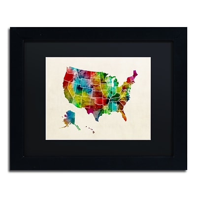 Trademark Fine Art United States Watercolor Map 2 by Michael Tompsett 11 x 14 Black Matted Black Frame (MT0514-B1114BMF)