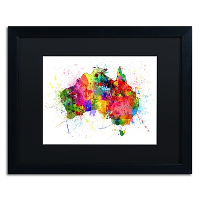 Trademark Fine Art Australia Paint Splashes Map by Michael Tompsett 16 x 20 Black Matted Black Frame (MT0515-B1620BMF)
