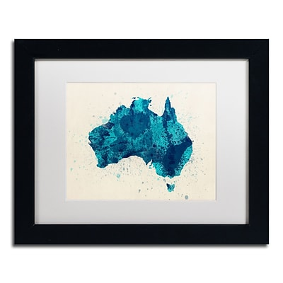 Trademark Fine Art Australia Paint Splashes Map 2 by Michael Tompsett 11 x 14 White Matted Black Frame (MT0516-B1114MF)