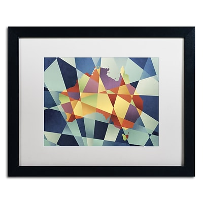 Trademark Fine Art Australia Geometric Retro Map by Michael Tompsett 16 x 20 White Matted Black Frame (MT0517-B1620MF)