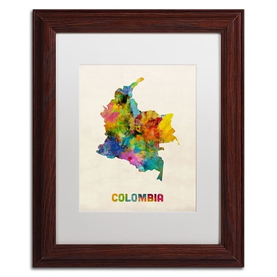 Trademark Fine Art Colombia Watercolor Map by Michael Tompsett 11 x 14 White Matted Wood Frame (MT0518-W1114MF)