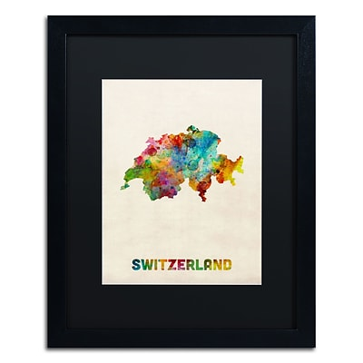 Trademark Fine Art Switzerland Watercolor Map by Michael Tompsett 16 x 20 Black Matted Black Frame (MT0520-B1620BMF)