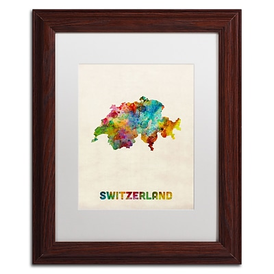 Trademark Fine Art Switzerland Watercolor Map by Michael Tompsett 11 x 14 White Matted Wood Frame (MT0520-W1114MF)