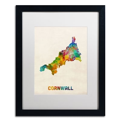 Trademark Fine Art Cornwall England Watercolor Map by Michael Tompsett 16 x 20 White Matted Black Frame (MT0521-B1620MF)