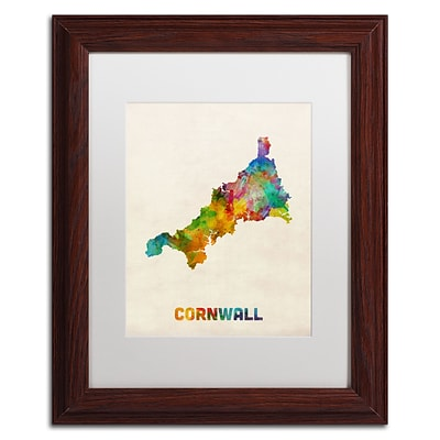 Trademark Fine Art Cornwall England Watercolor Map by Michael Tompsett 11 x 14 White Matted Wood Frame (MT0521-W1114MF)
