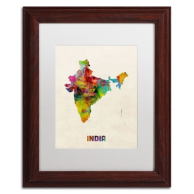 Trademark Fine Art India Watercolor Map by Michael Tompsett 11 x 14 White Matted Wood Frame (MT0522-W1114MF)