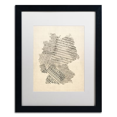 Trademark Fine Art Old Sheet Music Map of Germany by Michael Tompsett 16 x 20 White Matted Black Frame (MT0532-B1620MF)