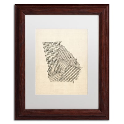 Trademark Fine Art Old Sheet Music Map of Georgia by Michael Tompsett 11 x 14 White Matted Wood Frame (MT0539-W1114MF)