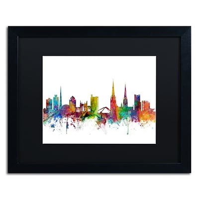 Trademark Fine Art Coventry England Skyline by Michael Tompsett 16 x 20 Black Matted Black Frame (MT0541-B1620BMF)