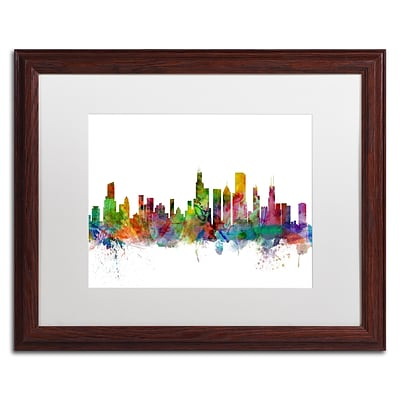 Trademark Fine Art Chicago Illinois Skyline by Michael Tompsett 16 x 20 White Matted Wood Frame (MT0545-W1620MF)