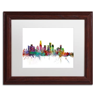 Trademark Fine Art Los Angeles California Skyline by Michael Tompsett 11 x 14 White Matted Wood Frame (MT0550-W1114MF)