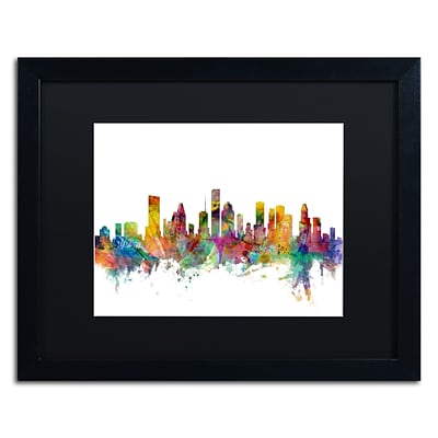 Trademark Fine Art Houston Texas Skyline by Michael Tompsett 16 x 20 Black Matted Black Frame (MT0554-B1620BMF)