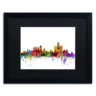 Trademark Fine Art Detroit Michigan Skyline by Michael Tompsett 16 x 20 Black Matted Black Frame (MT0557-B1620BMF)