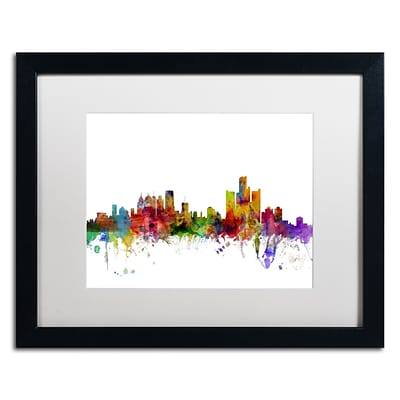 Trademark Fine Art Detroit Michigan Skyline by Michael Tompsett 16 x 20 White Matted Black Frame (MT0557-B1620MF)