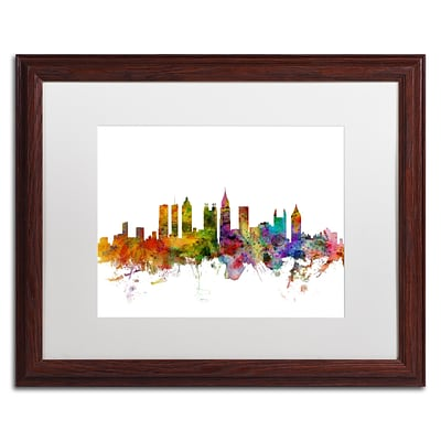Trademark Fine Art Atlanta Georgia Skyline by Michael Tompsett 16 x 20 White Matted Wood Frame (MT0566-W1620MF)