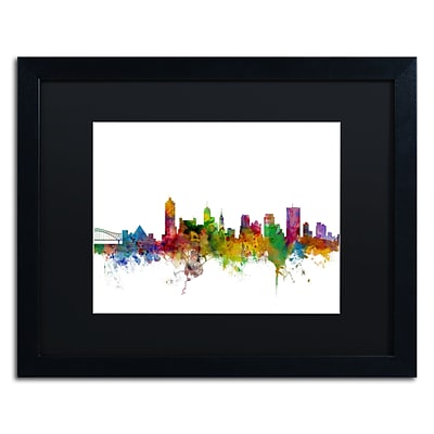 Trademark Fine Art Memphis Tennessee Skyline by Michael Tompsett 16 x 20 Black Matted Black Frame (MT0569-B1620BMF)