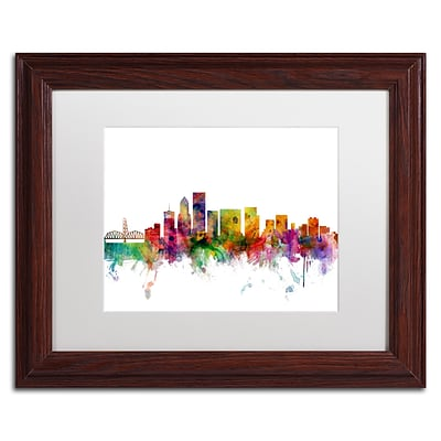 Trademark Fine Art Portland Oregon Skyline by Michael Tompsett 11 x 14 White Matted Wood Frame (MT0570-W1114MF)